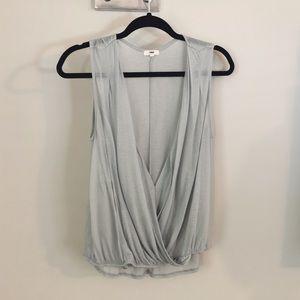Pale blue draped wrap top